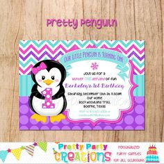 PRETTY PENGUIN invitation  with or without by PrettyPartyCreations