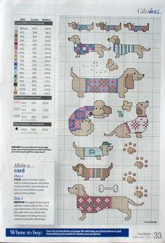 Cute dachshunds, Cross Stitcher No. 249, February 2012