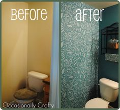 Stencil an accent wall in the bathroom (win a stencil of your choice at this link, too!)