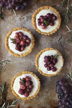 Roasted Grape and Rosemary Savory Goat Cheese Mini Tarts {Grain-Free} // Tasty Yummies