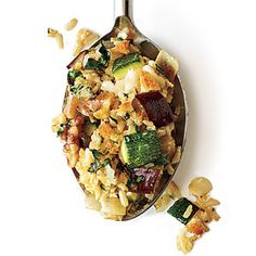 Cheesy Brown Rice Gratin with Zucchini and Eggplant   CookingLight.com #myplate #veggies #dairy