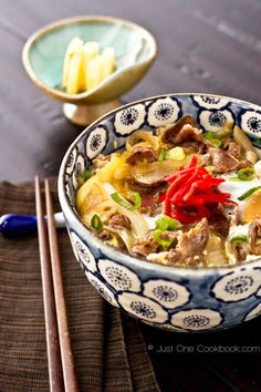 Gyudon (Beef Bowl) 牛丼 ~ is like a comfort food for Japanese. It can be prepared quickly and it has nutritious ingredients like beef, onion, eggs, and rice.