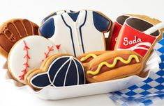 Baseball party cookies.