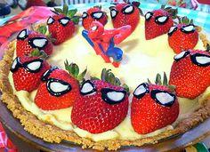 strawberry cakes, spiderman strawberri, idea, cheesecakes, strawberries, spider man, kid, parti, birthday cakes