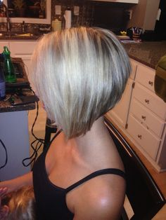 Short stacked angled bob....love the cut and color
