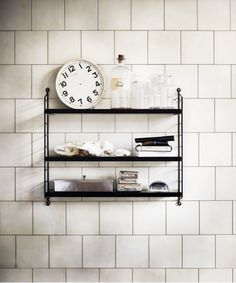 interior, kitchen shelves, tiles, shelving, pockets, string pocket, bathroom shelves, black, design