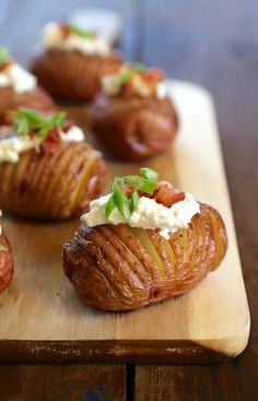 Mini Hasselback Red Potatoes with Burrata & Bacon