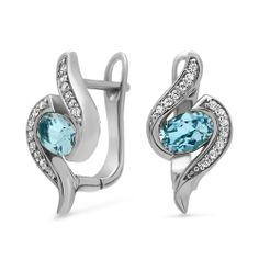 Unique Ohrringe aus echtem 925 Silber mit blauen Topasen und Zirkonia SE0458