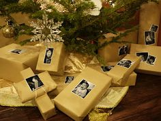 Such a cute idea for Christmas gift wrap next year. A picture for the To: and maybe a picture for the From: