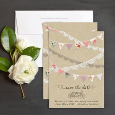 Festival Bunting Save The Date Cards