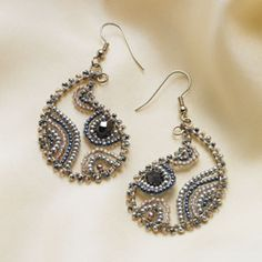 beaded paisley earrings