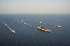 WATERS TO THE WEST OF THE KOREAN PENINSULA (Oct. 13, 2013) The George Washington Strike Group and Republic of Korea navy ships participate in tactical maneuver training in waters to the West of the Korean Peninsula. #USSGW