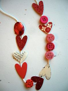 valentine crafts, holiday, valentine day crafts, engagement parties, paper hearts, wedding showers, heart string, valentine decorations, necklac