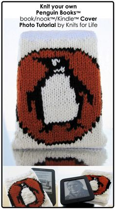Knitted Penguin Books Kindle Cover. Free knit pattern.