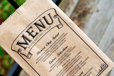 Menu Board Kraft Bag   Wedding menu for each guest table by mavora, $23.75