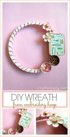 DIY Girly Embroidery Hoop Wreath at craftionary.net