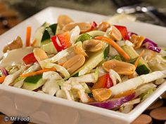 Asian Cabbage Salad - Only 5 simple ingredients, including coleslaw, cucumber, bell pepper, and more! Serve this one up as a potluck side dish or pair it with your favorite protein for dinner. #healthy