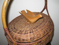 Antique Oval Wicker Dove Release Basket / Hand by CookieGrandma60, $95.00