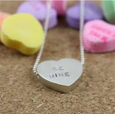Conversation heart sterling necklace from Christine Kober. Customize the engraving!