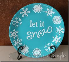 winter plate - spray painted and vinyl applied