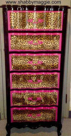 cheetah decor, cheetah furniture, anim print, betsey johnson inspired, leopard print furniture, betsey johnson lingerie, leopard prints, leopard dresser, leopard print dresser