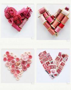 hearts idea, craft, button, pink heart, valentin, homemad heart, collag heart, thing, heart collag