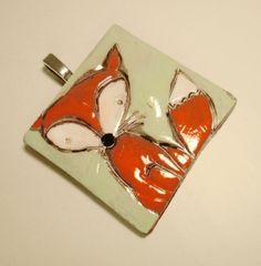 Fox, hand painted polymer clay pendant,  sage green and red gold colors