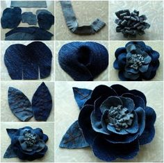 Rose flower from old Jeans