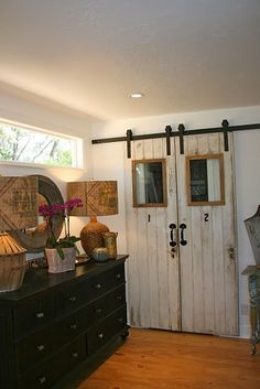 barn doors for closet doors or instead of french doors.