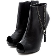 Black Zip Side Peep Toe Shoe Boots found on Polyvore
