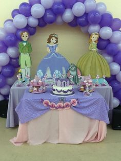 Beautiful sofia the first cake table. Make sure to check out www.ezpartyzone.com/cat-sofia-the-first-party-supplies.cfm for your cake plates and napkins!
