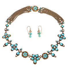 This is a classic Persian turquoise and pearl necklace and earring set, believe to be made in Persia between 1860 - 1880 period. Persians have highly regarded Turquoise for several thousand years. They have always held clear Robbins egg blue as the ultimate grade of Turquoise.