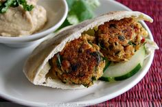 falafel...baked instead of frying. easier and healthier too!  ~Turned out a little dry because I deleted the onions in mine.  I used onions in the hubby's and they seemed to turn out better.  DID NOT really make very much though!  ~Leilani