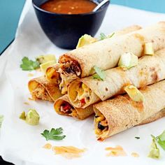 Baked Chicken and Black Bean Flautas