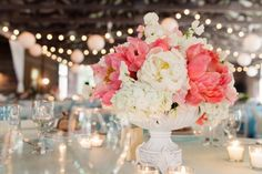 Coral Peony and White Centerpiece. Photography by Studio 6.23. Floral by Modern Day Floral and Events.