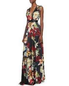 Alice + Olivia - Triss Floral-Print Sleeveless Maxi Dress
