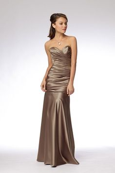 Sweetheart satin bridesmaid dress with dropped waist
