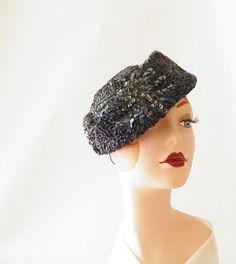 Vintage 1960s tilt hat vintage beaded Carson by TheVintageHatShop, $60.00
