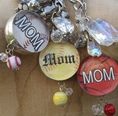 Sports Mom Jewlz-baseball mom, basketball mom, soccer mom, volleyball mom, cheer mom, mom, bling, funky, vintage, necklace, soldered, art, charm, beads, toggle, sports mom, sports,