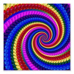 #Rainbow #Fractal Art Swirl Pattern #Poster Print $11.20
