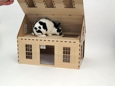Cape Cod style wooden playhouse for rabbits by Habifab on Etsy