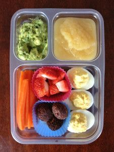 Kids Paleo Lunch Ideas | Our Paleo Life The Best Guacamole; Applesauce; Deviled Eggs; Carrots; Strawberries; Chocolate Brownie Bites