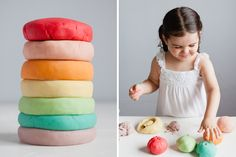 Rainbow scented play dough made from Jell-O!
