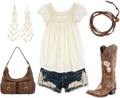 """Lace"" by hotcowboyfan ❤ liked on Polyvore ~~country fashion~~"