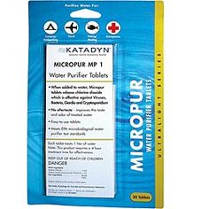 Katadyn Micropur water treatment tablets (20-pack). Each tablet treats 1 quart of water. Effective against viruses, bacteria, cryptosporidium, and giardia. $8.95 water storag, purif tablet, 72hour kit, water purification