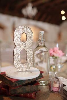 Gold sequin table numbers #weddings #sequin