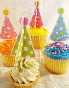 gift bags, party hats, party cupcakes, kid birthdays, free printabl, kid birthday parties, christmas cupcakes, cupcake toppers, birthday cakes