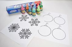 puffy paint snowflake supplies