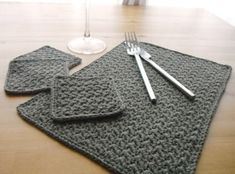 Love this coaster and placemat set...get out the crochet hook... pattern attached... and yes... in gray