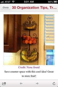 Dual purpose Fruit basket/wall decor... and hang where kids can reach